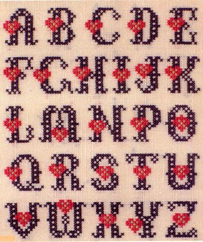 Алфавит с сердечками вышивка