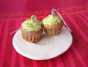 Серьги Кекс с лимоном