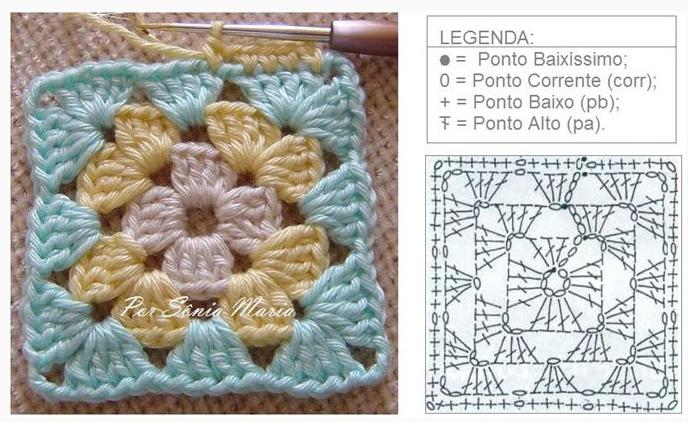 Схема вязания квадратного