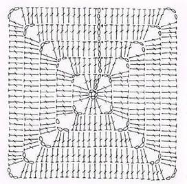 Схема вязания квадратного мотива