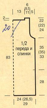 Вякройка туники, связанной крючком
