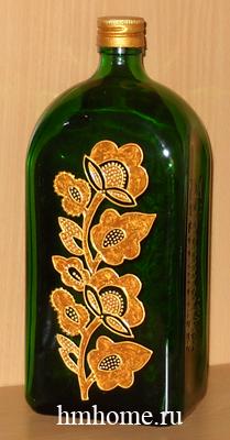 Роспись бутылки запекаемыми витражными красками