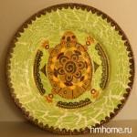 Декоративная тарелка роспись акрилом одношаговый кракелюр