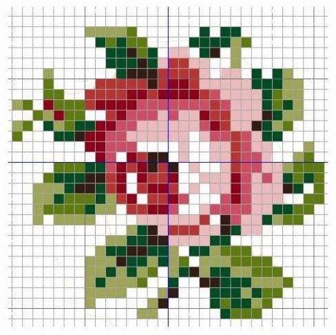 Cхемы вышивки роз.