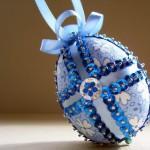 Синий декор для пасхального яйца