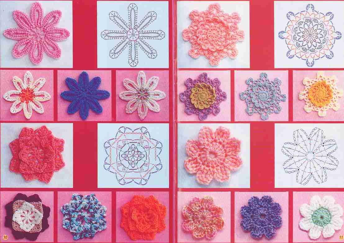 Разные формы вязание цветов