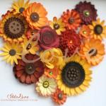 Коллаж сердце из бумажных цветов Ilda Dias