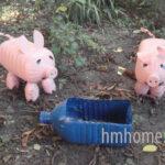Идеи для сада — пластиковые поросята