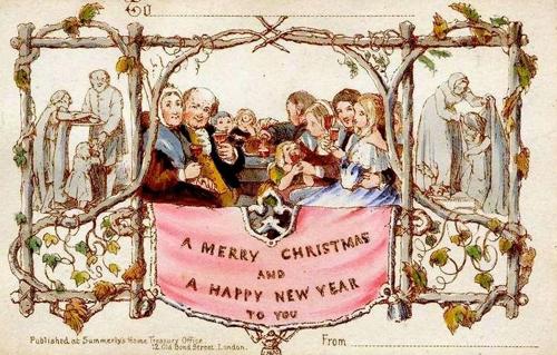 Первая в мире серийно выпускаемая Рождественская открытка, разработана Джоном Callcott Хорсли для Генри Коул в 1843 году