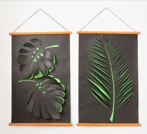 Бумажные гербарии для украшения стен