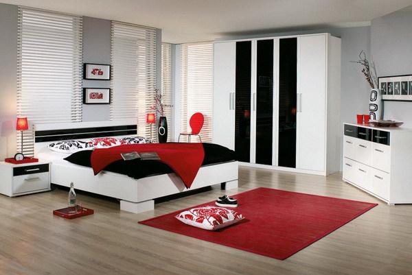 Красный цвет и интерьер спальни