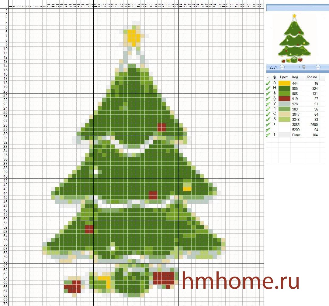 Схема вышивки крестиком елки 58