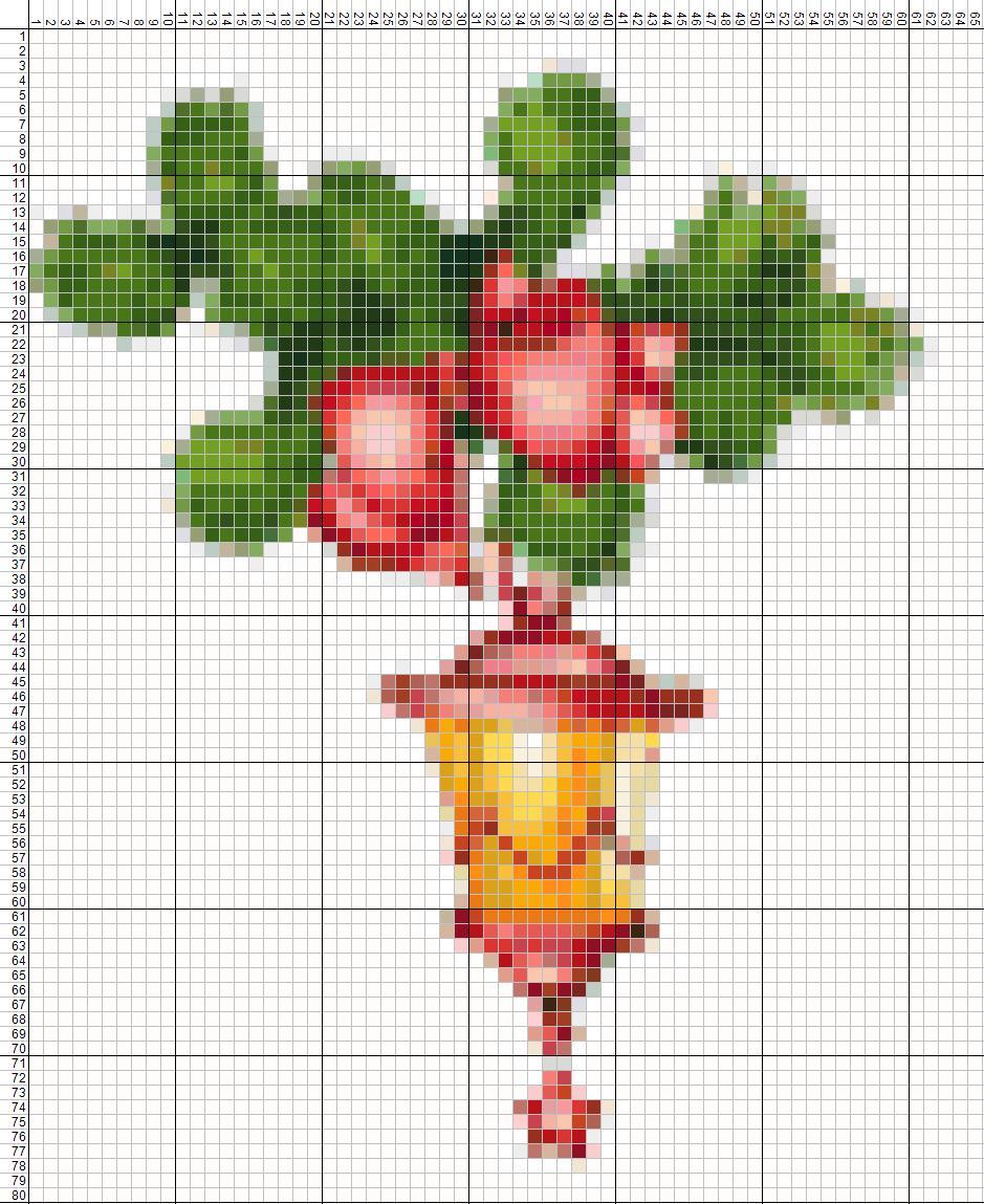 крестом цветы лёгкие вышивка схемы