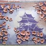 Коллаж из кожи «Цвет сакуры»