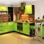 Дизайн кухни в салатовом цвете – царство зеленых оттенков