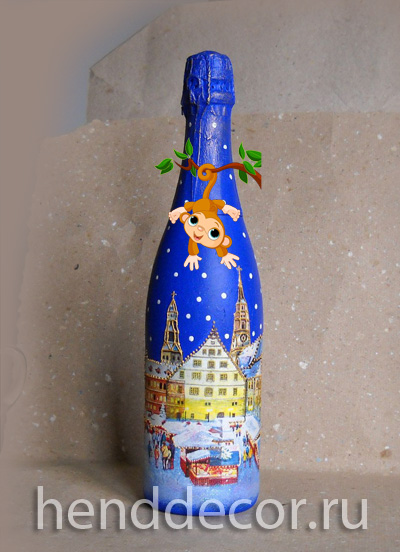Бутылка в технике декупаж