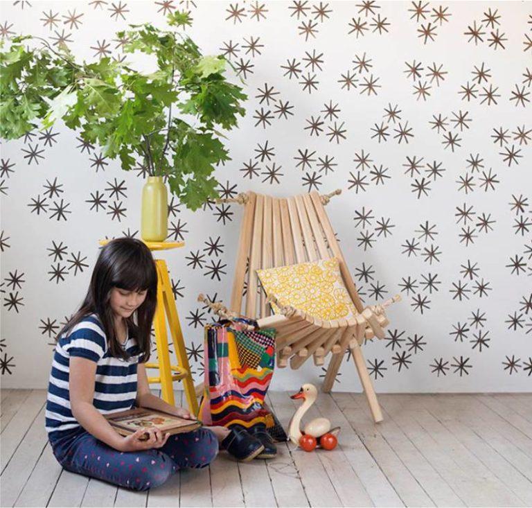 Трафареты на стене в детской комнате
