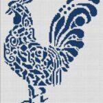 Схемы вышивки монохромных петухов