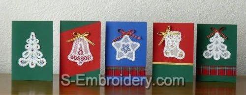 Новогодние открытки с ажурными элементами