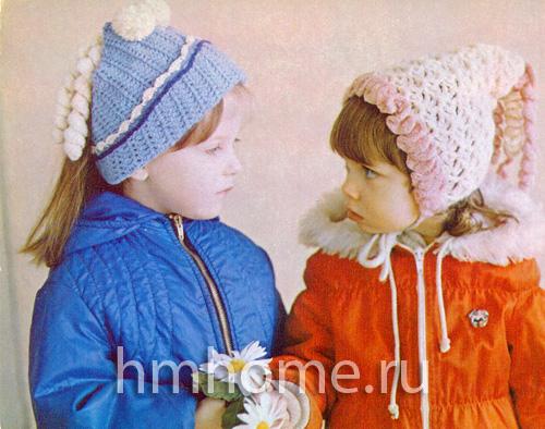 Детские шапочки вязаные крючком