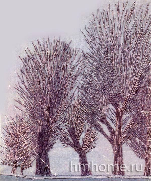 Зимний пейзаж вышитый длинными стежками