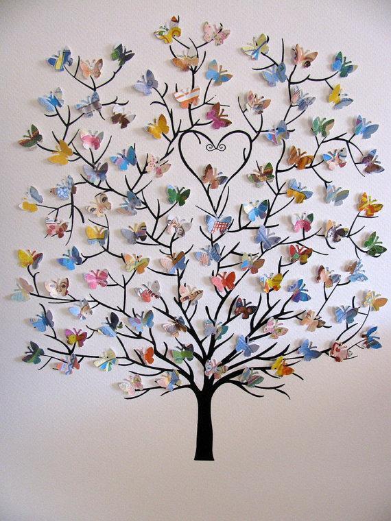 Семейное дерево с бабочками