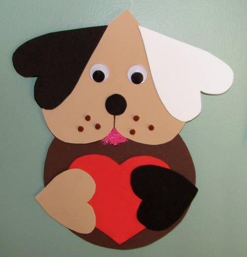 Идеи детям: Бумажные щенки из сердечек