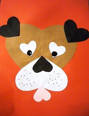 Бумажные щенки из сердечек