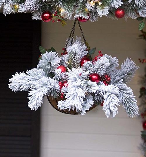 Рождественские висячие корзины для декора