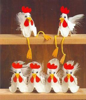 Пасхальный декор из яичных лотков