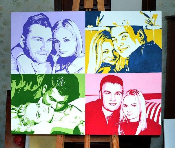 Семейный портрет в стиле поп-арт