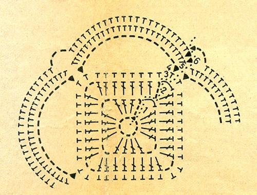 Квадратные салфетки из отдельных мотивов