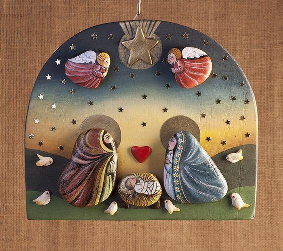 Рождественские сюжеты из морских камушек