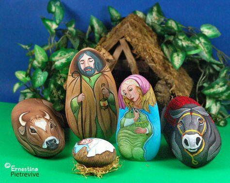 Рождественские сюжеты из гальки