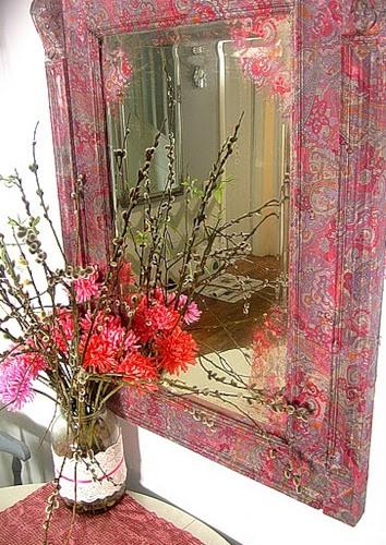 Декорирование зеркала тканью