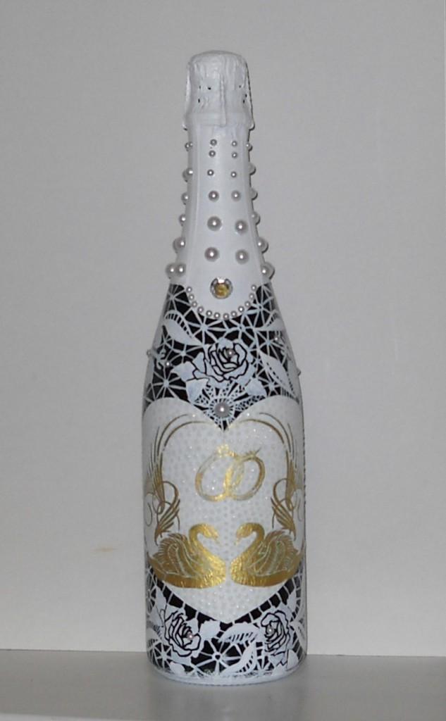 Роспись бутылок для праздничного стола