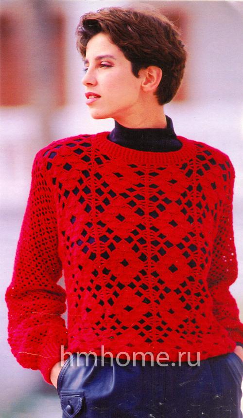 Красный пуловер связанный крючком