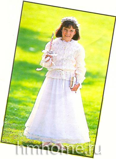 Вязаная белая кофта для подружки невесты