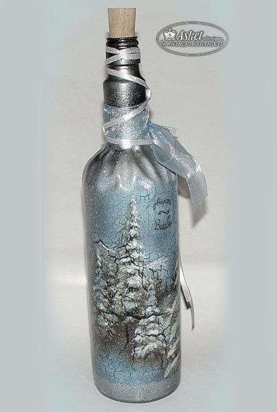 Бутылки с зимним пейзажем
