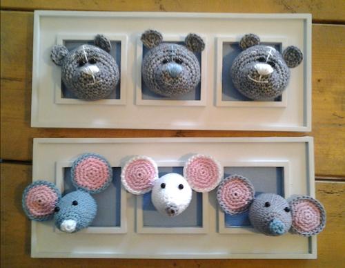 Вязаные игрушки для украшения стен детской комнаты