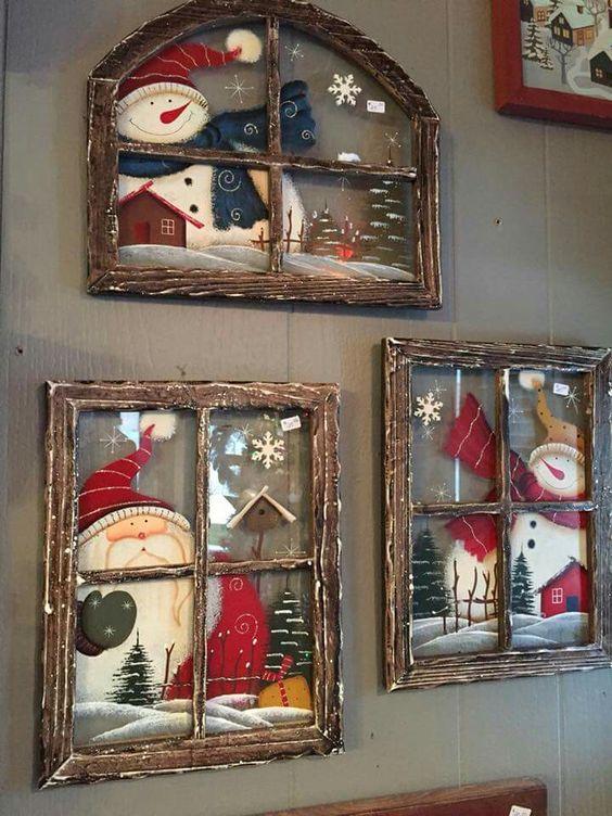 Новогодние рисунки на стекле